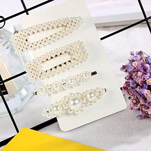 4 Pieces Pearl Hair Clips Women Hair Barrettes Hair Accessories Barrettes Pearl Hair Barrettes Hair Pins Metal Pearl Hair Clips for Wedding & Any Occasion …