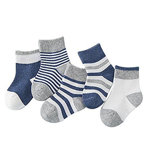 Baby Boys Girls Socks Best Infant and Toddler Gift, Kids Socks Ankle Soft Cotton Assorted Walkers Sock (Dark blue S 0-1)