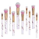PanShui - Juego de brochas de maquillaje profesional, 10 unidades, diseño de mármol, para base de maquillaje, colorete, polvos, sombra de ojos, brochas de maquillaje, kit de brochas