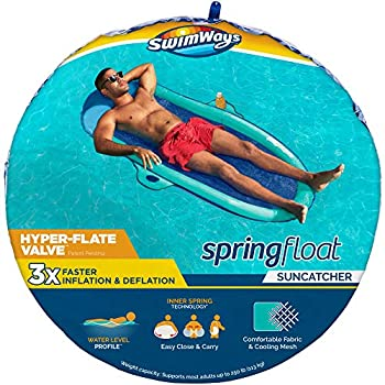 SwimWays Spring Float SunCatcher Inflatable Pool Lounger with Hyper-Flate Valve Pool Float 68 L x 34 W x 5.5 H