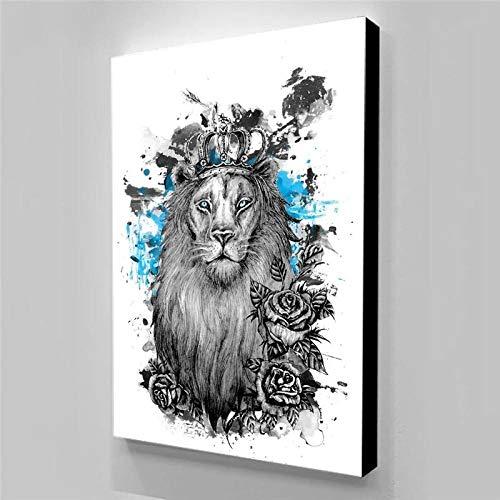 Bullidea Arte de Pared Honor al león Pintura en Lienzo Carteles estéticos decoración del hogar Carteles sin Marco 50x70cm