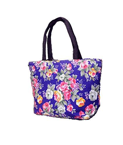 Bolso de mano para mujer, diseño de flores, color morado