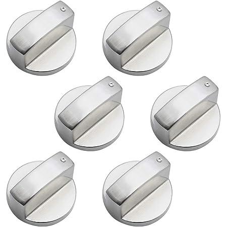 DXLing 6 Pièces Boutons de Commande Universels en Métal Bouton Cuisinière à Gaz 6mm boutons de contrôle universels bouton de poêle pour cuisinière à gaz cuisinière four plaque de cuisson