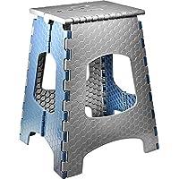 STARK Taburete Plegable Multiusos/Escalón con Mango, hasta 120 kg, Altura 44 cm en Gris-Azul para Cocina, baño, jardín