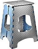 STARK Tabouret Pliable / Escabeau pliant avec poignée. Hauteur 44 cm en gris-bleu pour Cuisine, Salle de bains, Jardin