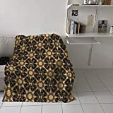 SIGOUYI 40x50in Fluffy Flannel Throw Blanket for Couch Sofa Bed, Soft Fuzzy Plush Blanket, Luxury Flannel Lap Blanket, Gold Black Arabesque Floral Pattern Ultra Cozy Reversible Blanket