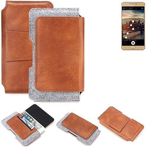 K-S-Trade® Schutz Hülle Für Allview X3 Soul Plus Gürteltasche Gürtel Tasche Schutzhülle Handy Smartphone Tasche Handyhülle PU + Filz, Braun (1x)