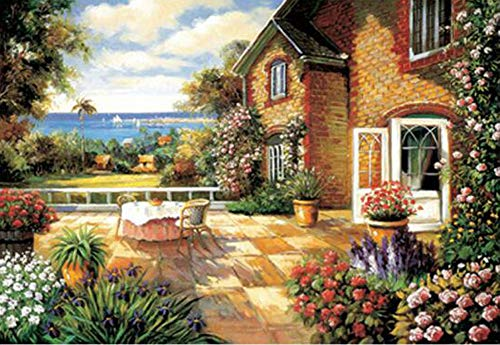PROW Natural Wood Wooden 1000 Piece Puzzles Seaside Balcony Oil Painting Jigsaw Puzzle for Adult Family Wall Decoration Gift, Finished Size 3020 Inch