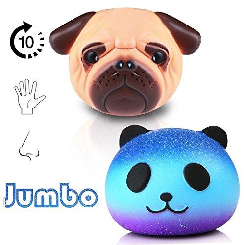 Jumbo squishies Pack 2 Unidades Jumbo – (Panda y Pug Perro), Lento Aumento del Stress Juguetes para Adultos – tamaño pequeño Regalo decoración