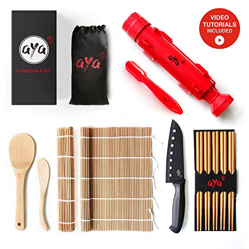 Sushi Making Kit - Original AYA Bazooka Kit - Sushi Knife - Video Tutorials - Sushi Maker - 2 Bamboo Mats - Paddle Spreader - 5 x Chopsticks