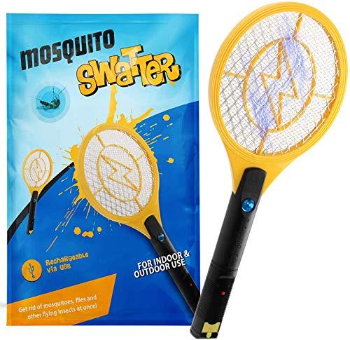 Zenoplige Elektrische Fliegenklatsche, Insektenvernichter Moskito Zapper USB Wiederaufladbar Fliegenfänger Zapper Akku Insekten Mörder Frei von Giftstoffen und Gerüchen Ideal für Drinnen und Draußen