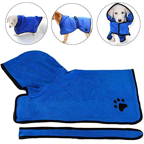 Dog Bathrobe Towelling,Dog Bathrobe Towel with Adjustable Strap, Microfibre...
