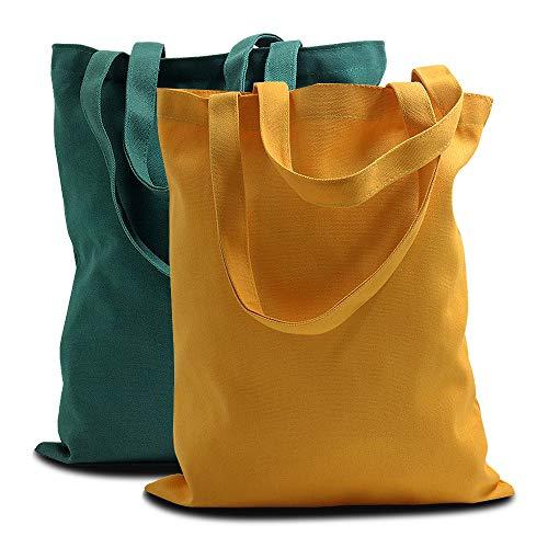 LELE LIFE Lot de 2 sacs fourre-tout en toile réutilisables en coton avec poignées, sac de courses épais de qualité supérieure, sac en toile robuste, jaune et vert foncé