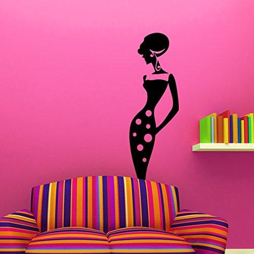 Ambiance-Live muurtattoo dames in gestippelde jurk 165 X 55 cm Oranje