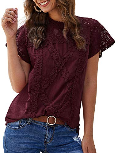 ZXZY Women Cute Lace Blouse Top Short Sleeve Lace Hollow Out Turtle Neck T Shirt Wine Red