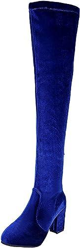 ZHRUI Stiefel de Gamuza Rodilla (Farbe   SapphireBlau, tamaño   42EU)