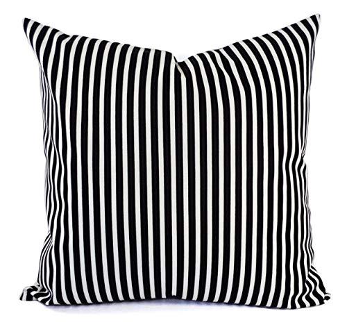 Fundas de almohada de rayas negras – Almohadas lumbares blancas – Funda Euro – Almohada de 18 x 18 – Almohada de 20 x 20 – Funda de almohada de 24 x 24 cm