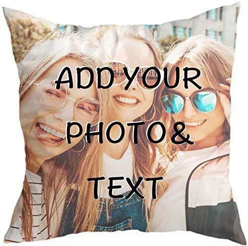 MLMYH Cojín de Fotos con tu Foto y Texto Impresos 40 x 40 c