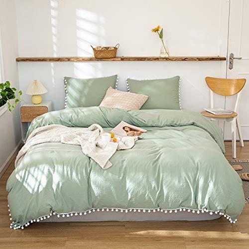 Bedbay Sage Green Bedding Set Queen Green Pom Pom Duvet Cover Set White Ball Fringe Decor Shabby Chic Boho Bedding 3 Pcs 1 Sage Duvet Cover 2 Pillowcases (Green-White Ball, Queen)