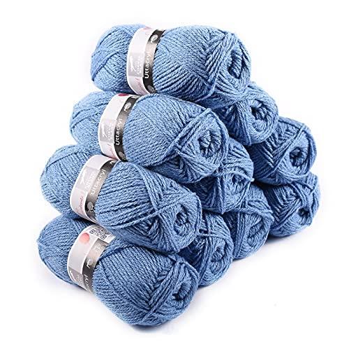 Laines Cheval Blanc - Lot 10 pelotes de fil à tricoter (10x50g) UTTACRYL 100% acrylique - 1300 m de fil pour tricot et crochet