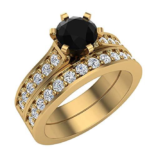 Glitz Design Mujer Niños Hombre Unisex oro 14 quilates (585) oro amarillo round-shape round-brilliant-shape Black J-K Diamond