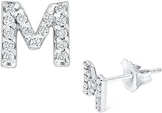 Small CZ Initial Stud Earrings Alphabet Earrings