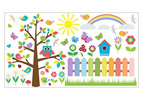 nikima - 021 Wandtattoo Wandbild Kinderzimmer bunte Eule auf Baum, bunte Blumen, Schmetterlinge - in 6 Größen - niedliche Kinderzimmer Sticker Babyzimmer Aufkleber süße Wanddeko Wandbild Junge Mädchen (1000 x 560 mm)