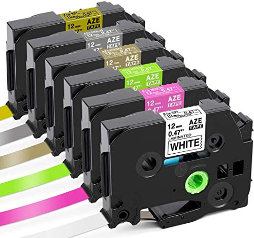 Colorty Compatible Label Tape Replacement for Brother P Touch TZe 12mm 0.47 Laminated Tape TZe-231 TZe-MQP35 TZe-MQG35 TZe-MQ835 TZe-MQL35 TZe-MQ831 White/Berry Pink/Lime Green/Satin Gold/Matt Grey