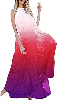 IyMoo Sexy Chiffon Sundress Tie Dye Dresses for Women Halter Neck Backless Long Boho Print Beach Dresses