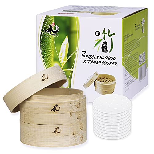 Yuho Asian Kitchen Bamboo Steamer 6-Inch, Individually Box, 2 Tiers & Lid, 10 Parchment Liners, Perfect For Steaming Dumplings, Vegetables, Meat, Fish, Rice, Healthy Lifestyle, 100% Natural Bamboo