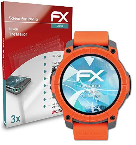 atFoliX Schutzfolie kompatibel mit Nixon The Mission Folie, ultraklare & Flexible FX Bildschirmschutzfolie (3X)
