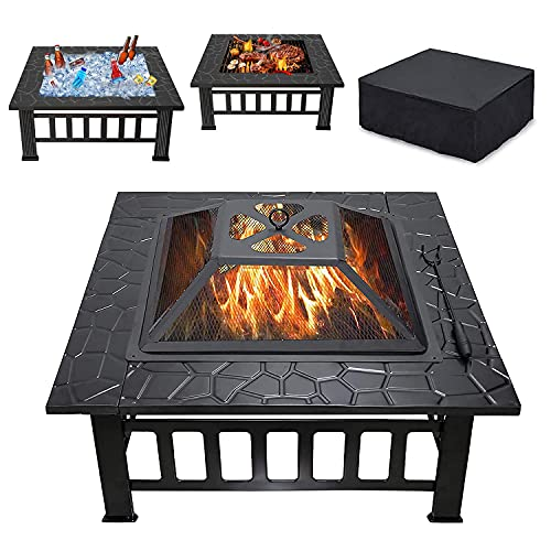 Thanaddo 32' Fire Pit Outdoor Wood Burning 3 in 1 Firepit Portable Solo Stove Bonfire Heater Fireplace Fire Table Bowl With Mesh Lid, Poker, BBQ Grill and Waterproof Cover For Patio Backyard Garden