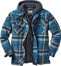Legendary Whitetails Men's Standard Maplewood Hooded Shirt Jacket, Slate Hatchet Plaid, Large
