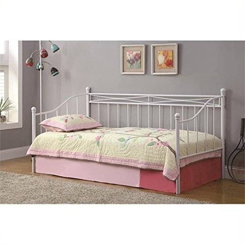 BOWERY HILL Casual Metal Frame Daybed with Pop-Up Trundle in White