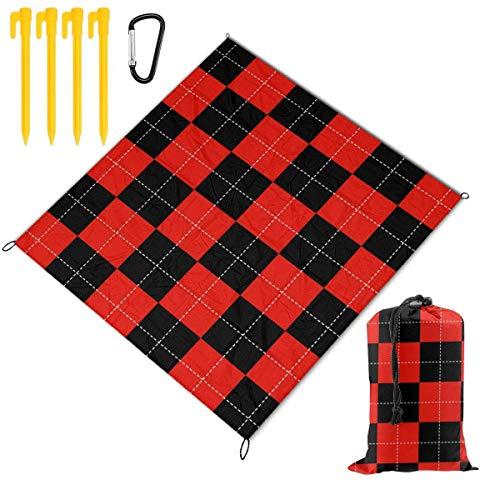 Wondihao Picknickdecke Matte, faltbare Spielmatten für Familien, gepunktet, rotes Schachbrett