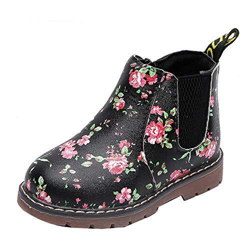 SOMESUN Mädchen Winter Warme Stiefel Kinds Weich Plüsch Lederstiefel Prinzessin Blumen Schneeschuhe Schuhe Freizeit Wasserdicht rutschfest Winterstiefel Winterschuhe