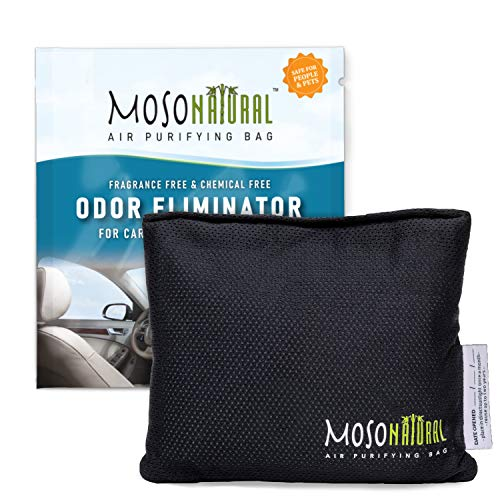 MOSO NATURAL: The Original Car Air Purifying Bag. The Safest Car Air Freshener on the Market. For Cars, Trucks and SUVs. An Unscented, Chemical-Free Odor Eliminator (Charcoal)