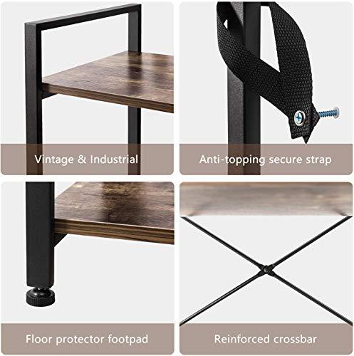 IRONCK Bookshelf, 3 Tier Ladder Shelf, Industrial Bookcase Storage Rack for Living Room, Bedroom, Farm House, Kitchen, Office Rustic Home Decor