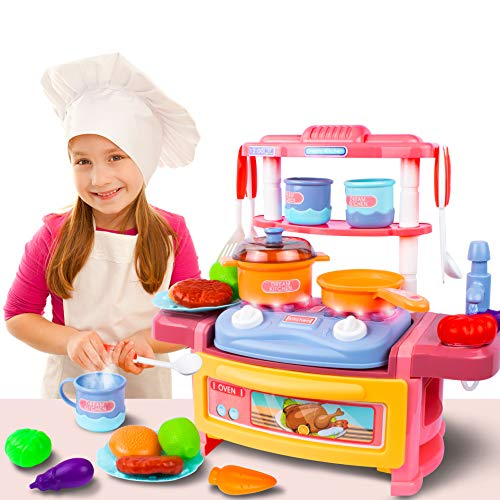 UNIH Kitchen Playset Kids Play Kitchen for Toddlers Pink 3 4 5 6 7 with Realistic Lights amp Sounds Play Oven amp Sink Other Kitchen Accessories Set for Girls Boys