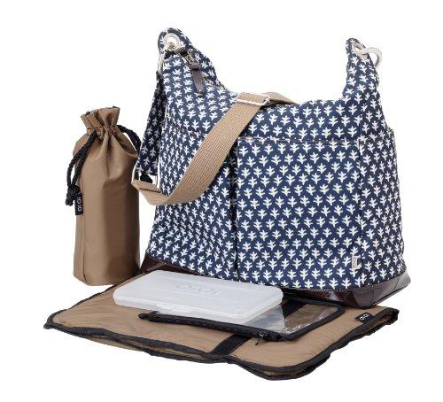 OiOi Hobo Diaper Bag, Navy/White