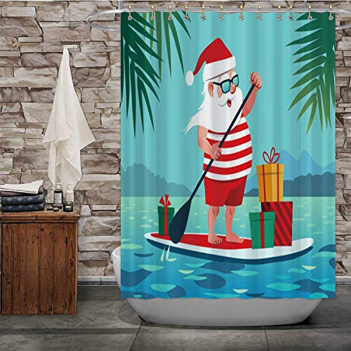 Dxichy Cute - ta Claus on Paddle Board with Gifts Against Tropical Ocean -Cartoon -.Christmas in July,Shower Curtain Summer for Bathroom 72''Wx72''H