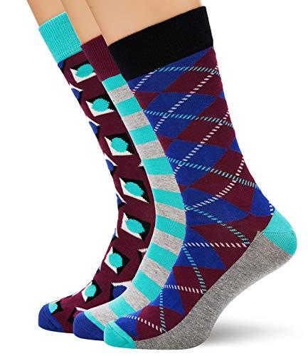 Happy Socks The Beatles Logo Chaussettes Pour Hommes Bleu//Multi Medium//Large