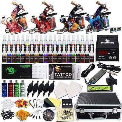 Beginner Complete Tattoo Kit 4 Machine Gun 40 Color Ink Set Grips Tubes Power Supply