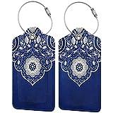 2 etiquetas para equipaje, etiquetas de cuero de la PU, etiquetas de la cubierta de privacidad con lazo de acero inoxidable para bolsa de viaje, maleta, estilo bohemio, porcelana azul y blanca