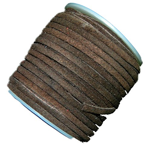 Chocolate Brown 4mm Flat Genuine Suede Lace Leather Cord 25 Yard Spool 4x1.5mm