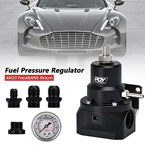 -10AN 10//10//6 Inlet /& Return Ports Universal PQYRACING AN10 PQY EFI Fuel Pressure Regulator 0-160psi Gauge