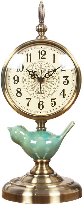 デスククロックファミリークロックセラミック銅メッキ鳥レトロ時計リビングルームの時計デコレーションミュートクリエイティブベッドサイド置時計リビングルームの寝室のオフィスに適して