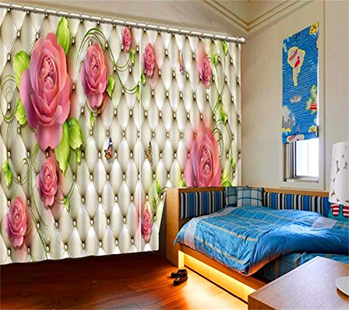 HAOTTP Cortinas 3D Blackout Bed Linings Modern Luxury Romantic Rose para el Dormitorio Poliéster Algodón Sofá Decoración del hogar Ventana H270xW300cm