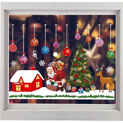 Weihnachten Fenstersticker, Fensteraufkleber PVC Fensterbilder Weihnachten Fensterdeko Fensteraufkleber Für Winter Fensterdeko Weihnachtsdeko, Weihnachtsmann Sterne Weihnachts Rentier (A31)