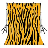 EOA 5(W) x7(H) FT Tiger Print Yellow Party Backdrop Black Stripes Animal Tan Photography Background Birthday Events Decoration Kids Adults Photoshot Props YouTube Studio
